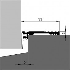 ANB-6 300 OPBOUWDORPELSTRIP B=33 MM, H= 3 MM .( NAAD 6 MM )
